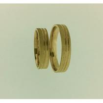 Par De Alianças Em Ouro 18k 0.750 4mm 7 Gramas O Par Wd40