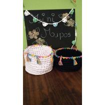Cestos Contenedores De Totora Tejidos Al Crochet