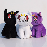 Sailor Moon Set De 3 Gatos Luna Artemis Y Diana Peluche 18cm