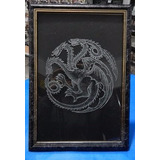 Got - Game Of Thrones - Quadro Gravado No Vidro Targaryen
