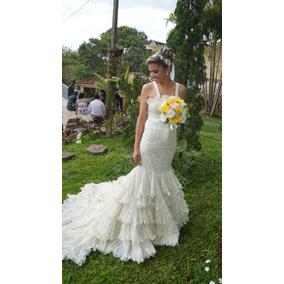 Lindo Vestido De Noiva Com Pedraria Sereia Semi Novo