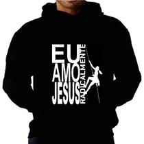 Blusa Moletom Amo Jesus Capuz Bolso Moleton Radical Gospel