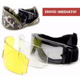 Óculos Tático Goggle X800 Com 3 Lentes Airsoft Paintball