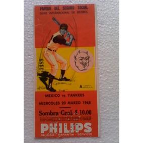Boleto Beisbol 1968 Yankees Mexico Vintage Sport Memorabilia