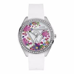 Reloj Guess W0904l1 Blanco Flores Para Dama Envío Gratis*