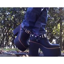 Oferta Zapato Plataforma Botineta Negras Liquidación!!