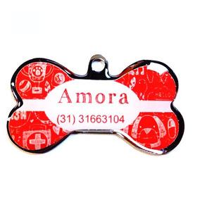 Pingente Personalizado - Tag P/ Cães Efeito Giz Vermelho
