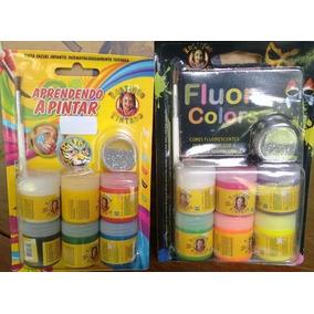 6 Kits Tinta Facial E Fluor Colors Rostinho Pintado