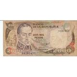 Colombia, Antiguo Billete Coleccionable 2000 Pesos 1.993