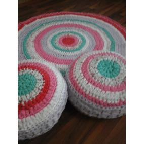 Alfombra Crochet(material Trapillo Totora O Tira De Tela)
