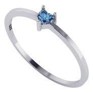 Anel Solitário Azul Topázio Coração Prata 925 - Exclusivo