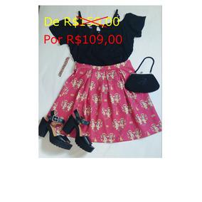 Linda Saia Pink Antix Estampa De Coelhos Promo 150 Por 105