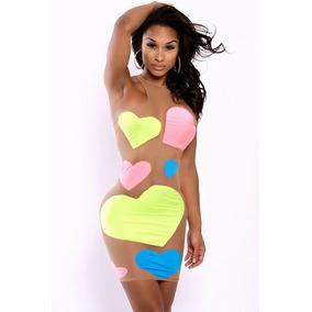 Sexy Mini Vestido Transparente Con Corazones De Colores