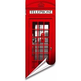 0c242fd8a Adesivo Decorativo Para Porta Londres Cabine Telefonica
