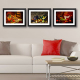 3 Quadros Cozinha Frutas Vinho Decorativo Copa Sala Varanda