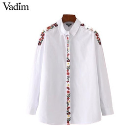 Camisa De Mujer Blanca Bordada