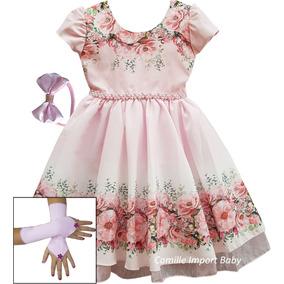 Vestido Infantil Dama Daminha Casamento Com Luvas