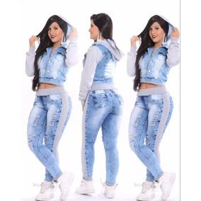 Conjunto Jeans Feminino Destroyed Calça E Jaqueta C/ Moletom