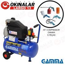 Compressor Ar 2 Hp 7,5 Pés 24 Lts 220v Gamma + Kit Pintura