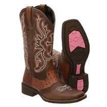 Bota Texana Feminina Bico Quadrado Cano Longo Country Couro