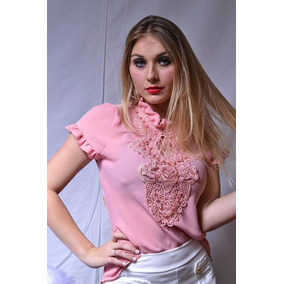 Blusa Rosa C Detalhe Guipir