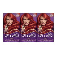 3 Unid Kit Tintura Koleston Wella 7744 Rojo Cobrizo Intenso