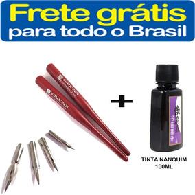 4 Ponta Bico Pena Caneta Nanquim +tinta 100ml Frete Gratis