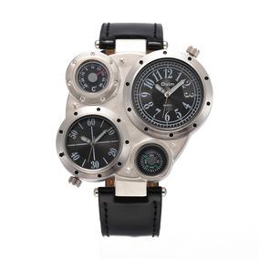 Relógio Oulm 9415 Bússola Medidor De Temperatura Prata Preto