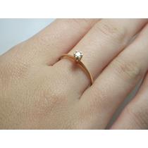 Lindo Anel Solitário Em Ouro Amarelo 18k 750!!com Diamante!!