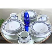 Jogo De Jantar E Chá Porcelana 30 Peças Azul E Prata