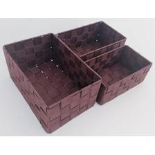 Set 3 Canasto Canasta Organizador Tela Plastica Tejida Estructura Metal Simil Ratan 1 Cada Medida Oferta Imperdible Bz3
