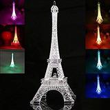 Torre Eiffel Em Acrilico Com Led Miniatura Cores 26cm