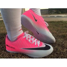 Nova Chuteira Nike Salão Branco Rosa Neynar Cr7 Mercurial