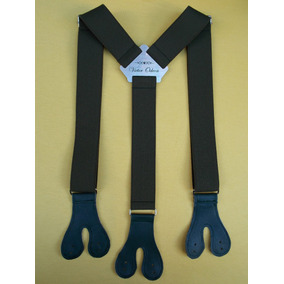 Tirador Pantalón Suspenders Doble Ojal Plata Verde Milit 4cm