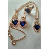 Lindo Conjunto Semi Jóias Banhadas A Ouro Cristal Azul