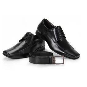 Sapato Social Calvest Couro Com Cinto Preto Masculino - 43