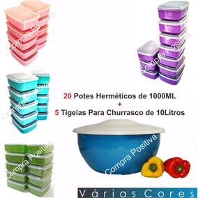 Kit De Potes Herméticos E Vasilhas Grandes Para Churrasco