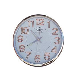 Relógio De Parede Com Numeros Fluorescente 30cm Prata 9022