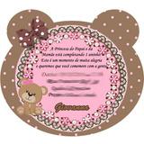 Kit 40 Convite Aniversário Ursinha Poá Marrom E Rosa Menina