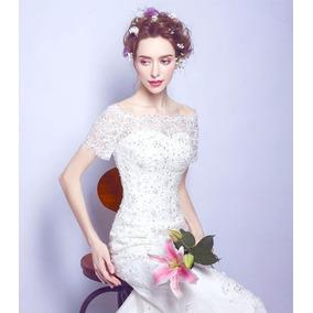 Hermoso Vestido Novia Cola De Sirena, Envio Gratis W-6061