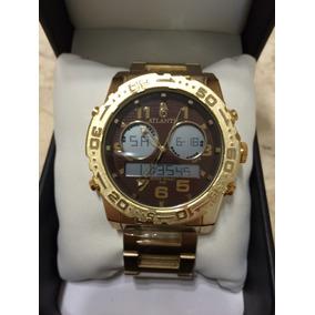 Relógio Atlantis Sports Mod A3228 Dourado/marrom