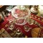 Cristal Tallado Antiguo Ponchera Con 8 Tazas