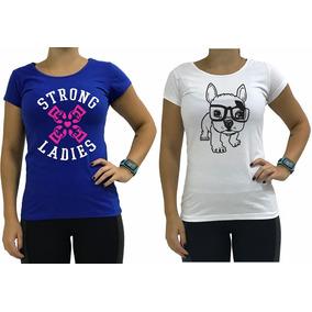 2 Babylook Casual Camiseta Feminina Blusa Algodão Fitness
