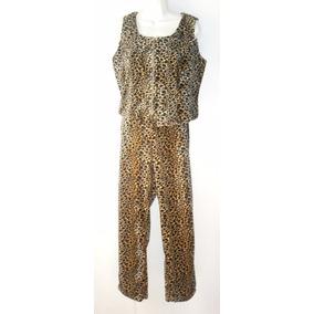 Traje Dama Animal Print Conjunto Leopardo Chaleco Y Pantalon