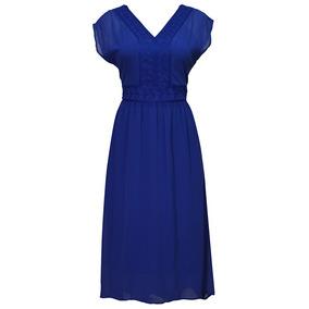 Vestido Manga Corta Bordado Dama Mujer Azul 1186 Zoara