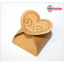 50 Unid Caixa Papel Lembrancinha Bombom Coração Cor Ouro