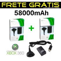 Kit 2 Carregador E Bateria Pra Controle Xbox360 58000mah