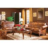 Juego Recibo Muebles Sofa De Cuero Clasico Tipo Ingles 2 Pcs