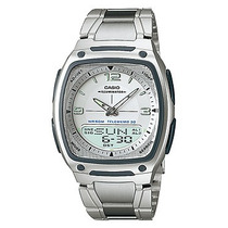Relógio Masculino Anadigi Casio Aw-81d-7av- Inox/branco