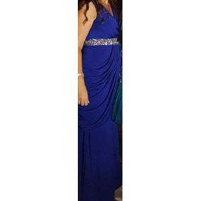 Vestido De Noche Para Dama Color Azul Rey Piedras Tornasol